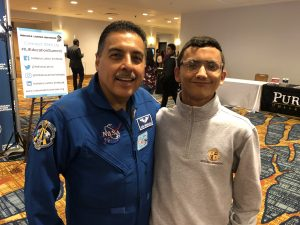 Astronaut with Scecina student