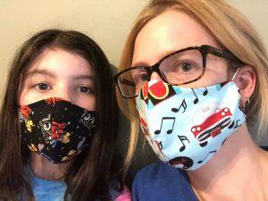 Mandy Crandell models protective masks