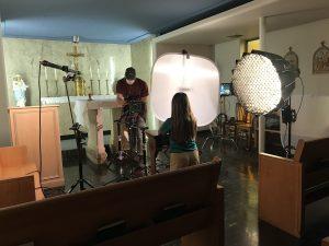 Student Emily Vasquez being filmed